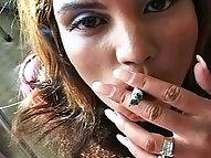 Vanessa Inhales Smoke and Hot Cum